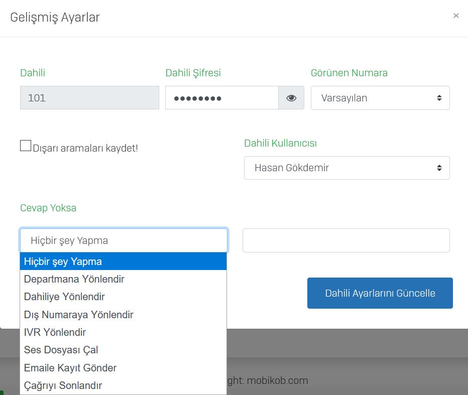 Mobikob Departman ve Kullanıcı Dahilileri Belirleme